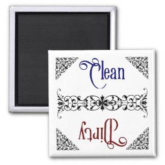 Limpo ou sujo ímã quadrado