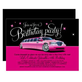 Limusina cor-de-rosa do convite de aniversário |