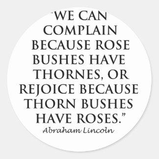 Lincoln: em Thornes e em rosas (claros) Adesivos Em Formato Redondos