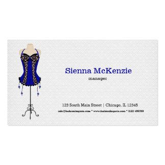 Lingerie da forma (azul) cartões de visita