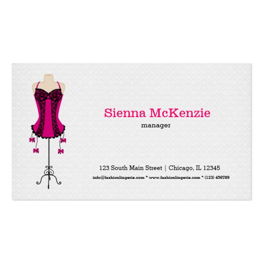 Lingerie da forma (rosa) cartao de visita