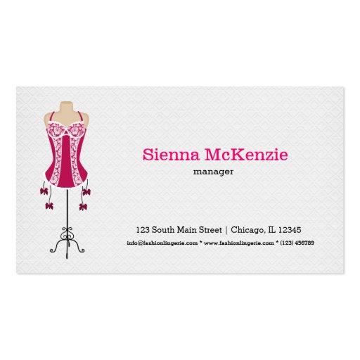 Lingerie da forma (rosa) cartões de visita
