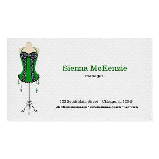 Lingerie da forma (verde) modelos cartões de visita