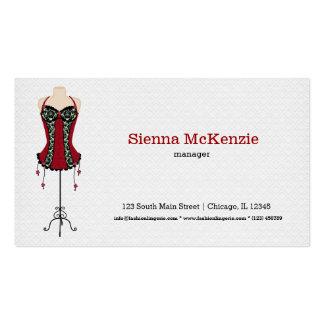 Lingerie da forma (vermelha) cartão de visita