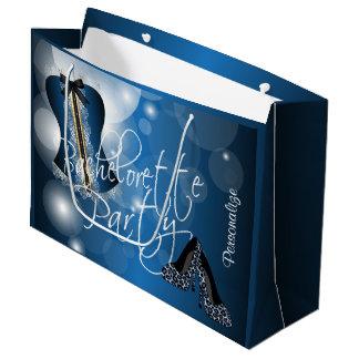 Lingerie glamoroso Bachelorette   Bokeh azul Sacola Para Presentes Grande