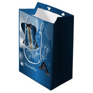Lingerie glamoroso Bachelorette   Bokeh azul Sacola Para Presentes Média