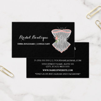 Lingerie nupcial elegante do espartilho do vintage cartão de visitas