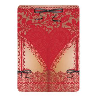 Lingerie vermelha Bachelorette do espartilho do Convites Personalizados