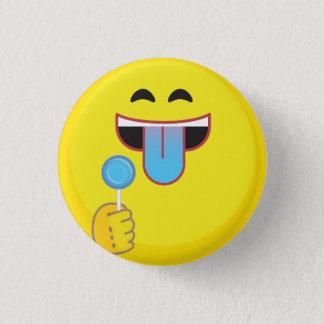 Língua azul Emoji Bóton Redondo 2.54cm
