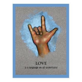 Língua do amor: Linguagem gestual americano: Arte Cartão Postal