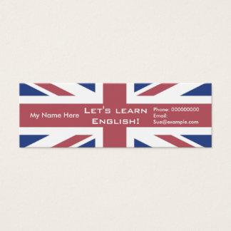 Língua inglesa de ensino -- Cartões de propaganda