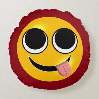 Língua para fora Emoji Almofada Redonda