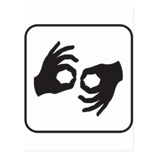 Linguagem gestual cartão postal