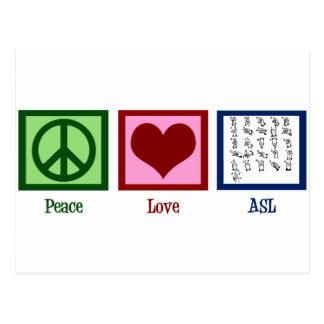 Linguagem gestual do amor da paz cartão postal