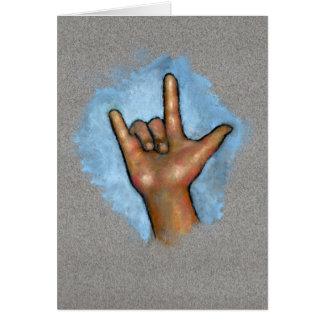 Linguagem gestual: Eu te amo: Mão no Pastel Cartão Comemorativo