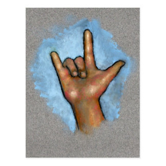 Linguagem gestual: Eu te amo: Mão no Pastel Cartão Postal