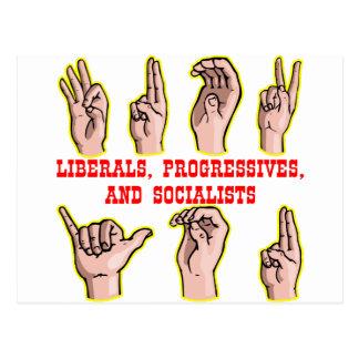 Linguagem gestual Para-aos progressistas Sociali Cartão Postal