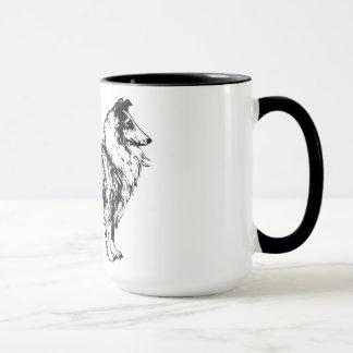 linha áspera café do cão do collie da arte, caneca