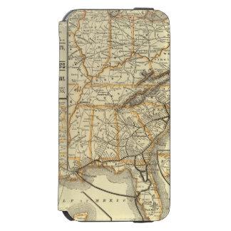 Linha atlântica da costa do mapa capa carteira incipio watson™ para iPhone 6
