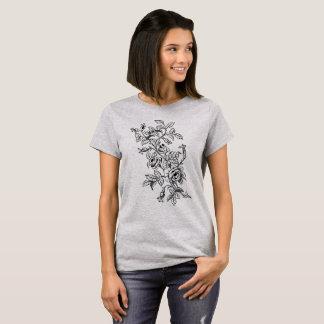 Linha botânica desenho do vintage da arte dos camiseta