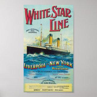 Linha branca poster de viagens da estrela do