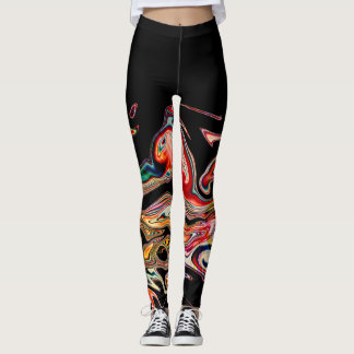 Linha colorida abstrata leggings