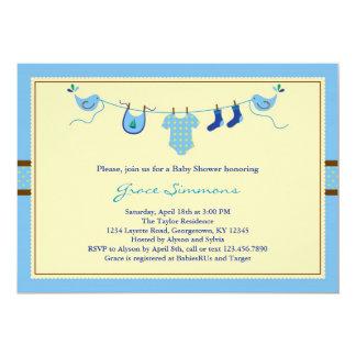 Linha convite da roupa do Layette do chá de Convite 12.7 X 17.78cm