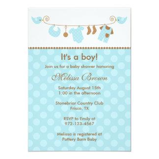 Linha convites da lavanderia dos azuis bebés do convite 12.7 x 17.78cm