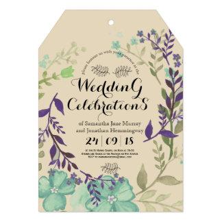Linha corajosa cartão de casamento floral do