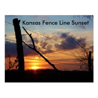 Linha de cerca cartão de Kansas do por do sol
