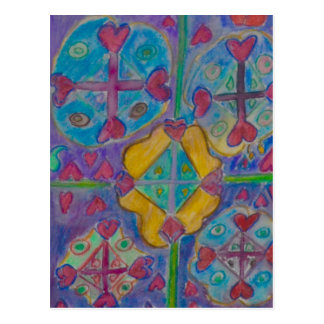 Linha de coração cartão postal