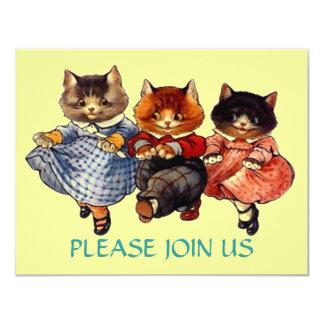 Linha de gatos feliz convite do dance party da