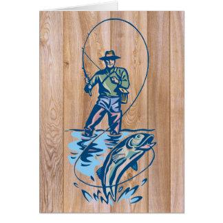 Linha de madeira cartão do pescador da captura
