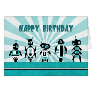 Linha de robôs na frente do cartão de aniversário