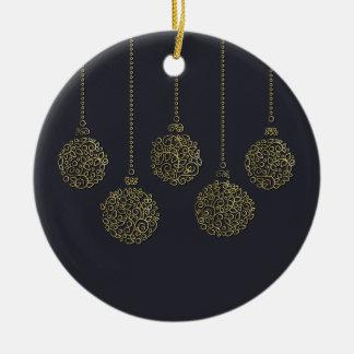 Linha decorativa ornamento do Natal do ouro