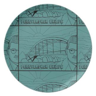Linha design da ponte de Pennybacker da arte Prato De Festa