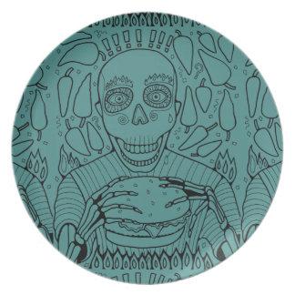 Linha design do hamburguer da arte pratos de festas