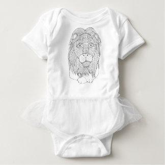Linha design do leão da arte body para bebê