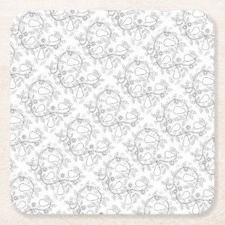 Linha design do ramo da pera da arte porta-copo de papel quadrado