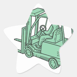 Linha do operador de caminhão da empilhadeira mono adesito estrela