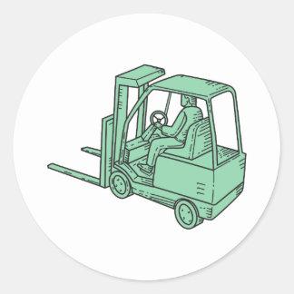 Linha do operador de caminhão da empilhadeira mono adesivo