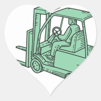 Linha do operador de caminhão da empilhadeira mono adesivo coração