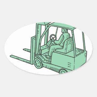 Linha do operador de caminhão da empilhadeira mono adesivo oval