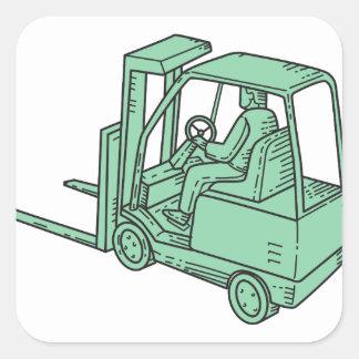 Linha do operador de caminhão da empilhadeira mono adesivo quadrado