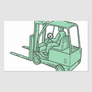 Linha do operador de caminhão da empilhadeira mono adesivo retangular