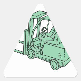 Linha do operador de caminhão da empilhadeira mono adesivo triangular