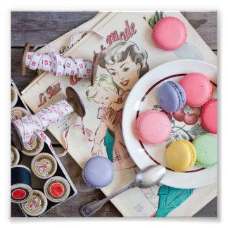 Linha do prato da sobremesa dos biscoitos de impressão de foto