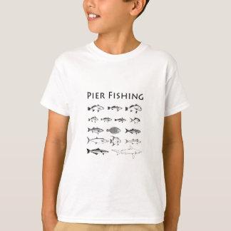 Linha logotipo da espécie dos peixes da pesca do camiseta