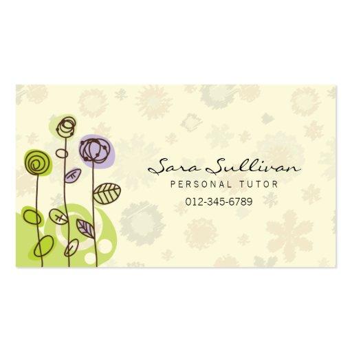 Linha pessoal flores do Doodle do cartão de visita