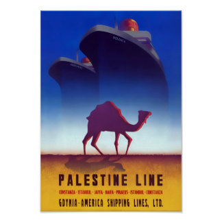 Linha poster de Palestina das viagens vintage